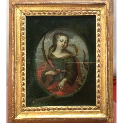 Sainte Marguerite, Oil On Copper, 17th.