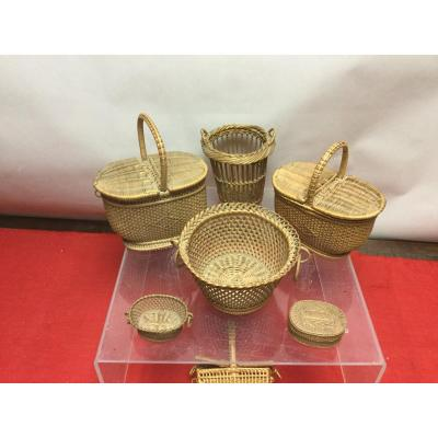 Lot Of Small Baskets, 19th Century.