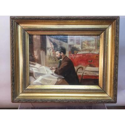 Portrait d'Artiste, Caran d'Ache, Huile Sur Panneau, Daté 1897.