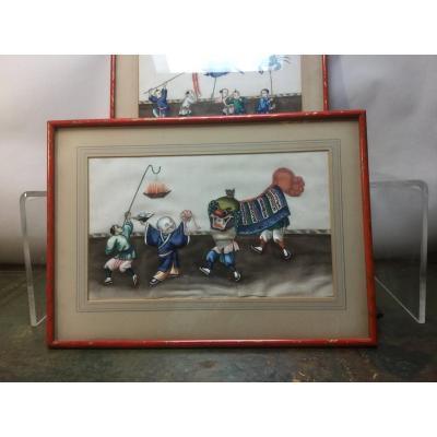 Peintures Chinoises, Carnaval , Festivités. 19 ème Siècle.