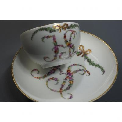 Porcelain Sorbet Cup And Saucer, Switzerland, Nyon, XVIII