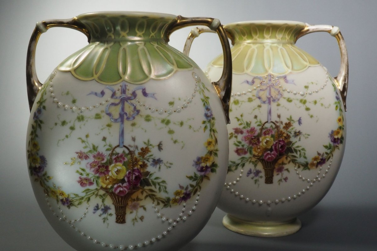 Pair Of Biscuit Vases