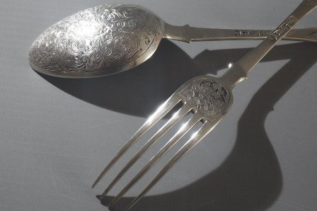 Russian Spoon And Fork Made Of Silver.