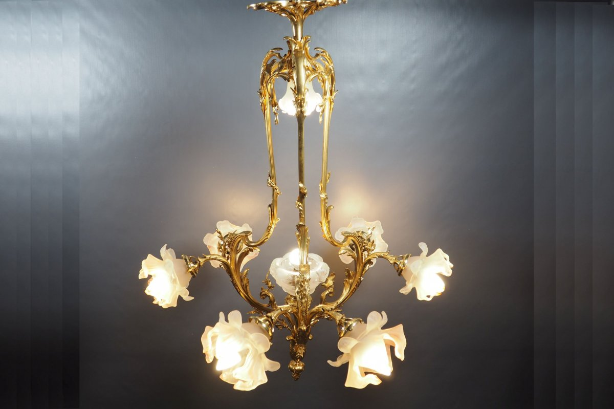 Chandelier In Gilt Bronze Art Nouveau