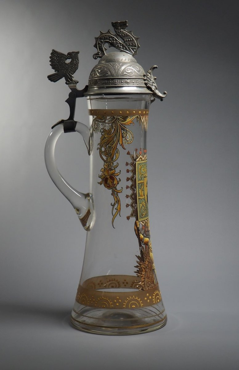 Bohemian Glass Pitcher - The Knight Of The Sun