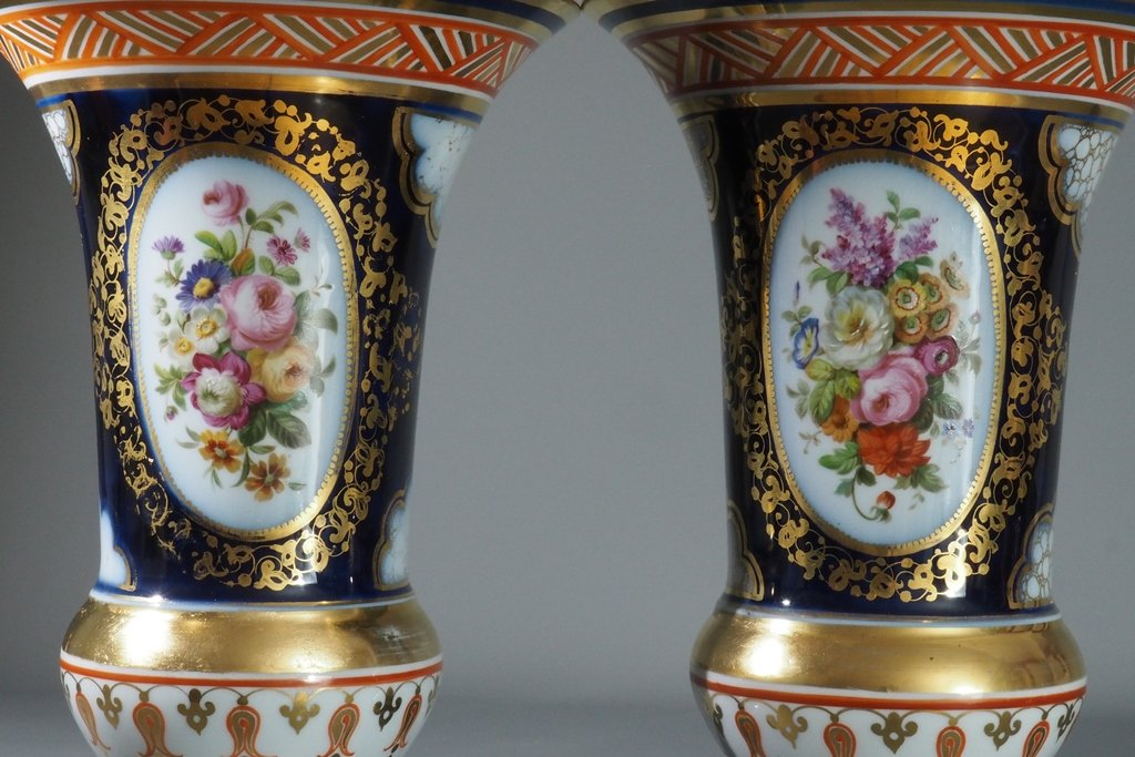Pair Of Vases- Iberian Bouquets- Porcelain, France, Valentine,  19th Century