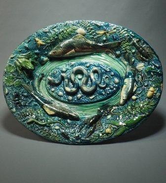 Dish  Amphibians - Ceramic Of The Trompe-l'oeil Genre, France, F. Maurice. School Of Tours. XIX