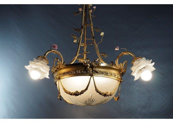 Lustre 5 Lumières - Bronze Doré Et Cristal Dépoli Et Taillé