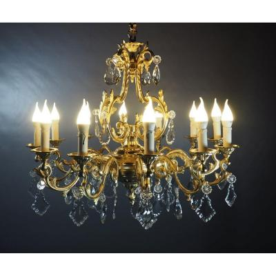 Chandelier 12 Lights In Gilt Bronze And Crystal