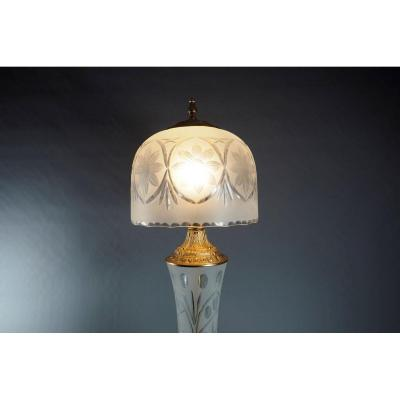 Gilded Bronze And Crystal Art Deco Lamp