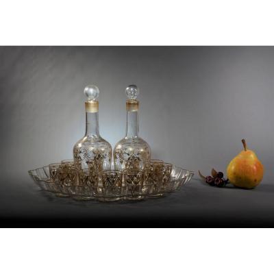 Golden Crystal Liqueur Service Napoleon III Period