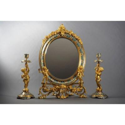Mirror And Candle Holders In Gilt Bronze And Polychrome Enamels In The Style Of F. Barbedienne.