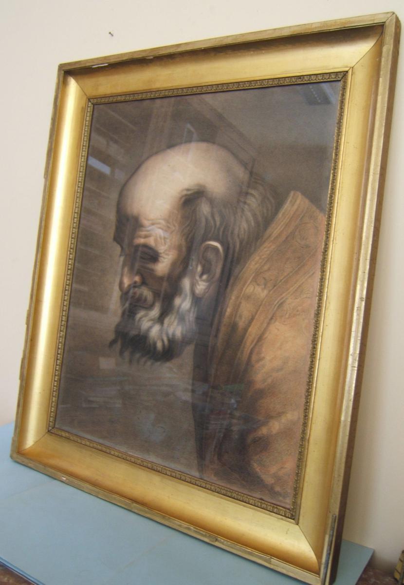 Peinture Fusain Sanguine XIXè Portrait d'Une Scene Religieuse Autel St Jerome