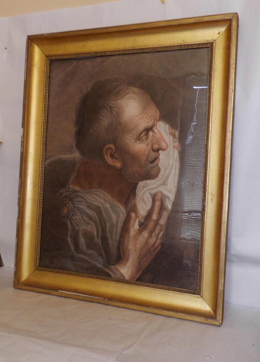 Peinture Fusain Sanguine XIXè Portrait d'Une Scene Religieux Autel St Jerome