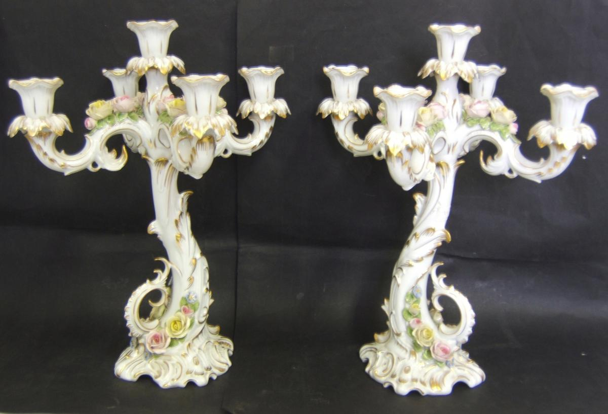 Pair Grand Chandelier Porcelain Ak Kaiser W Germany Biscuit Flower In Relief