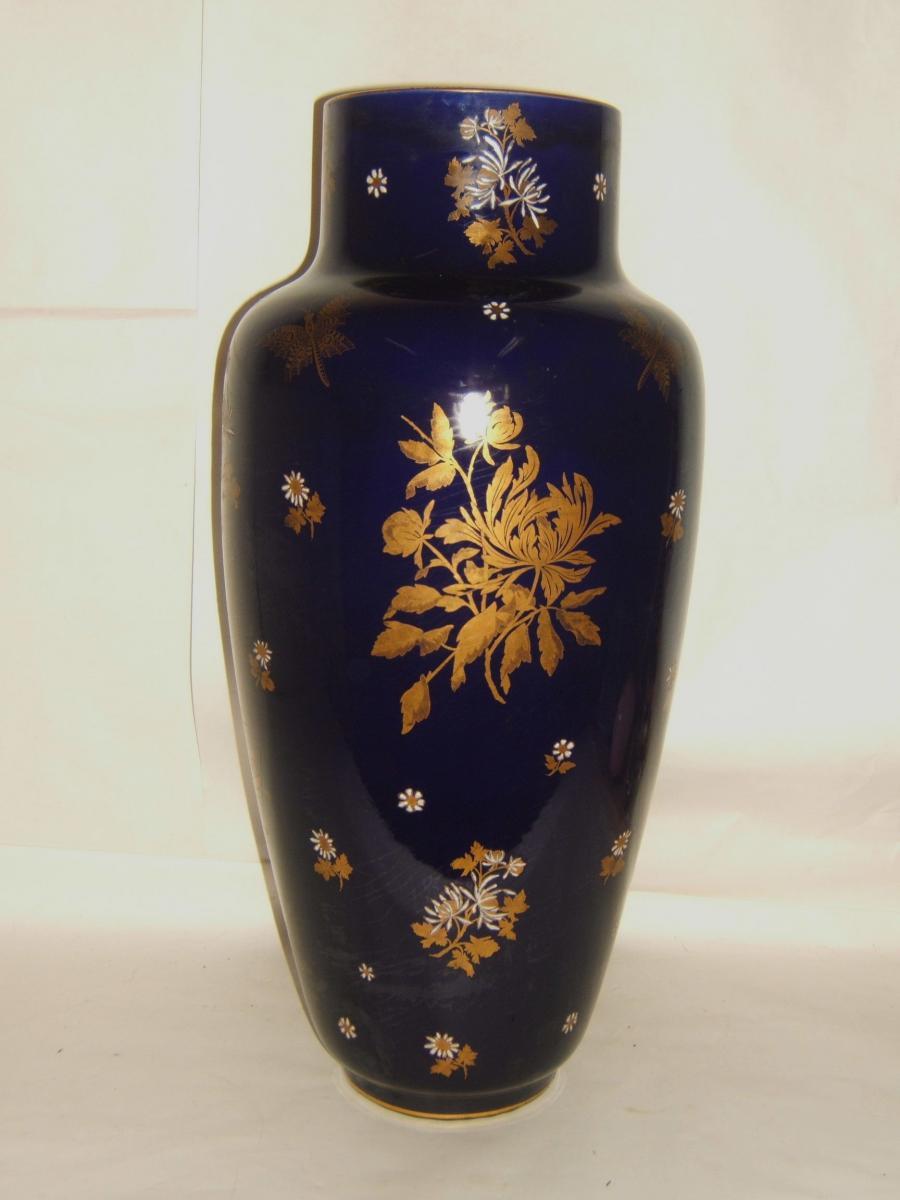 Grand Vase Amphore Gres Majolique Fleur Et Papillon Sarreguemines Epoque 1900