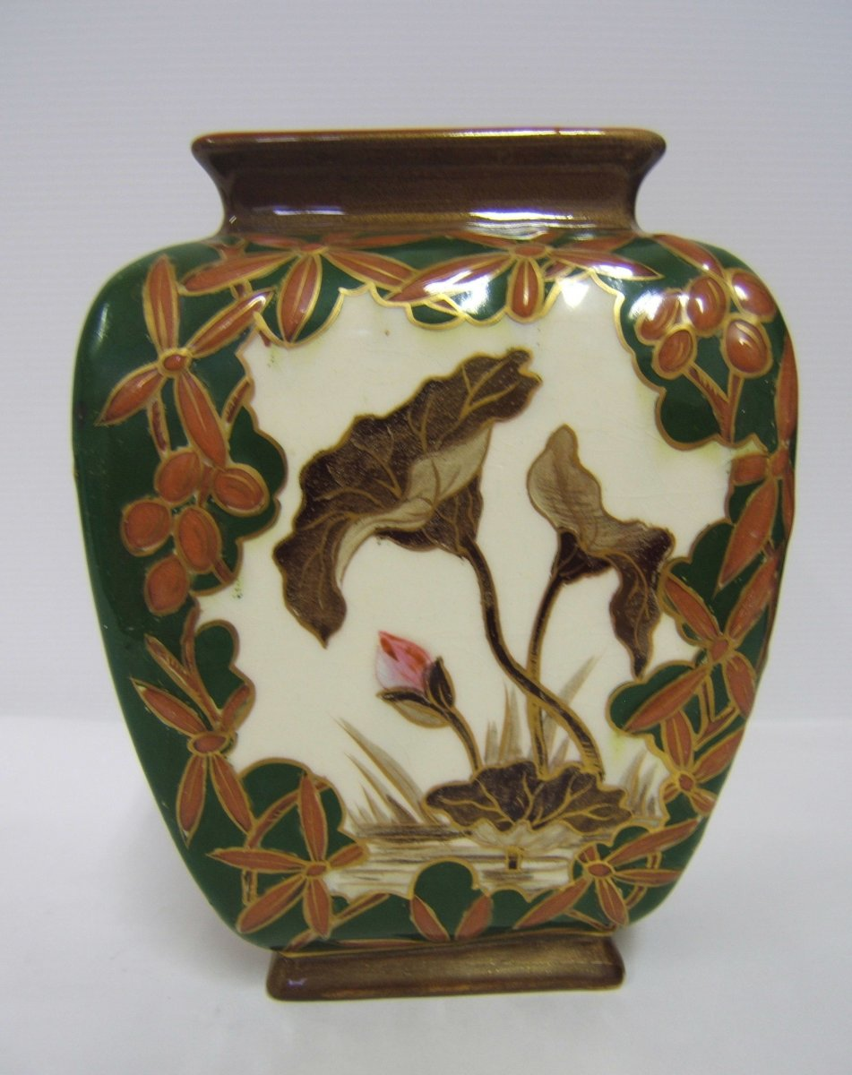 Glazed Earthenware Vase Kg Luneville Art Nouveau Decor Flowers Hand Painted 1880