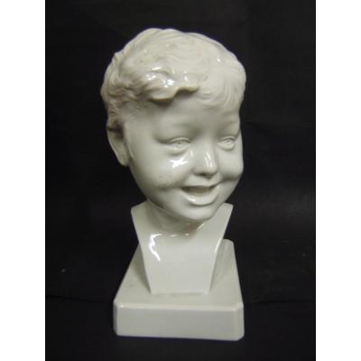 Buste Enfant Rieur PORCELAINE France Donatello