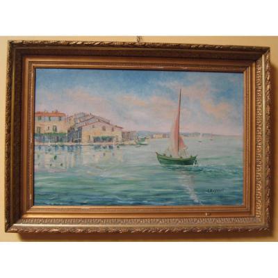 Tableau Peinture Marine Huile Sur Toile Signe L. Massonnet 1926 Art Deco