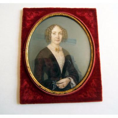 Miniature Peint Main Signe Labroue 1851 XIXè