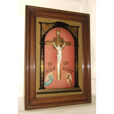 TABLEAU FIXE SOUS VERRE CRUCIFIX CHRIST BISCUIT RELIGIEUX XI