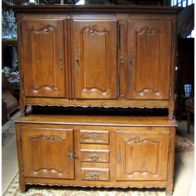 Buffet Lorrain 2 Corps 5 Doors 3 Drawers Oak Carved Massif XVIIIth Style XV
