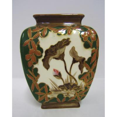 Glazed Earthenware Vase Kg Luneville Art Nouveau Decor Flowers Hand Painted 1880