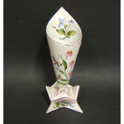 Vase Form Cornet St-clement XIXth Floral Decor Dragonfly Hand Painted Galle