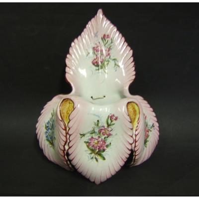 Bouquetiere St Clement XIXth Floral Decor Hand Painted Galle Leaf Shape