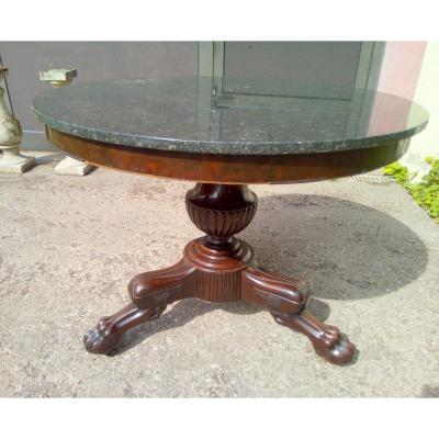 Round Pedestal Foot Central 3 Claws Feet Napoleon III Mahogany Veneer Marble Top