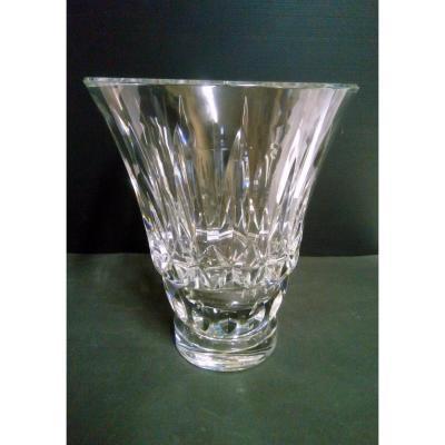 Important Vase Cristal Taille Estampille Baccarat France Hauteur 29 cm