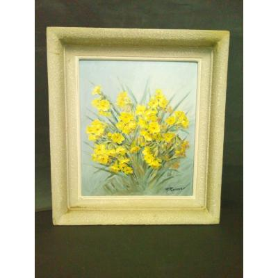 Oil Painting Sign R. Perisse Bouquet Of Flowers 1897-1969 Nancy