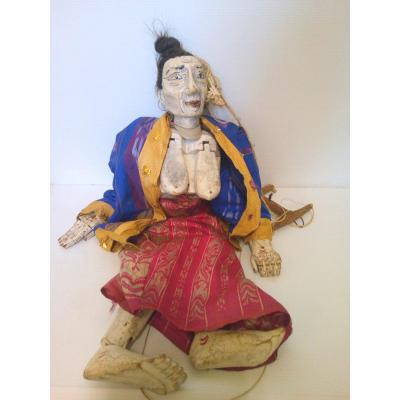 Chinese Articulating Polychrome Wood Puppet Natural Hair XIXème