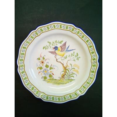 Dish Decor Hand Painted Bird Faience Nevers A Montagnon Gd.m
