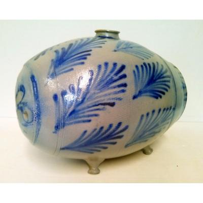 Big Vinegar XIXth Gres d'Alsace 15 Liters Blue Decor Handmade Popular Art