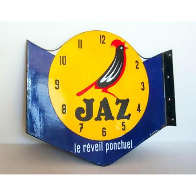 Jaz Le Reveil Ponctuel Double Sided Enameled Advertising Plaque Emaillerie Alsacienne Strasbourg