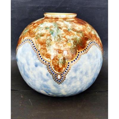 Vase Ball Art Deco Decorator Tom Sign Mt Limoges Decor Polychrome Enhances Gold