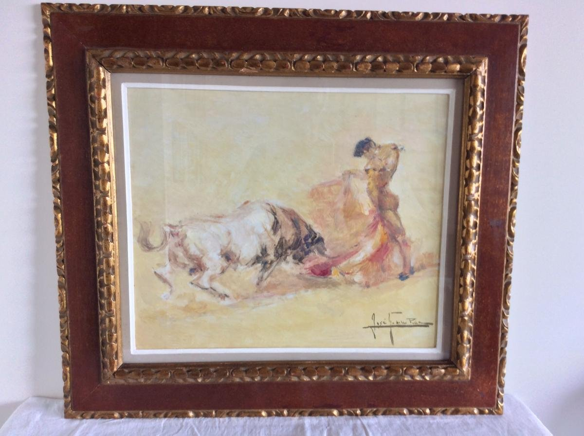 2 Paintings Pair Of  - Bullfighting Scenes - Jose Gonzales De La Pena