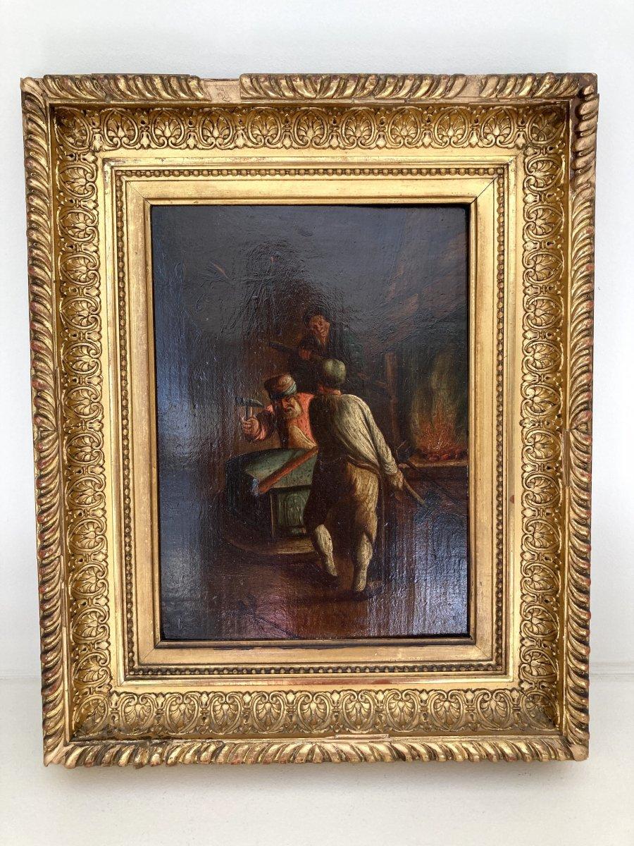 Oil On Panel, Atelier Du Forgeron - Flemish School 17th