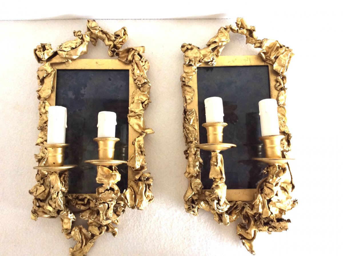 """Pair Of Wall Lights, In Golden Brass - Creation From The 1970s"""""""