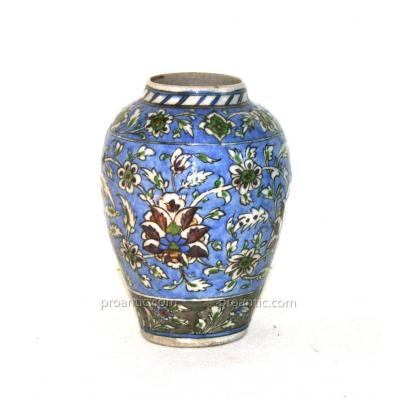 Ceramic Vase Iznic, Turkey Ottoman Art, 19th