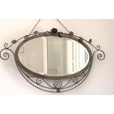 Brushed Wrought Iron Mirror, Art Deco Period