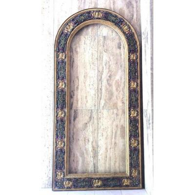 Very Large Frame In Golden Wood, Polychromed - Rennaissance Italy 16th - 219 Cm