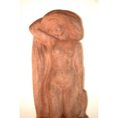 Terracotta Sculpture, Naked Bather, Signed Alfred Jean Halou, Early 20th 1910/1920