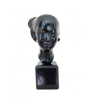 Bronze With Black Patina - Young Vietnamese - 1940s-1950s