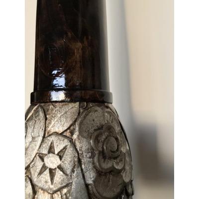 Lampadaire en bois verni et argenté, 183 cm- Art Deco