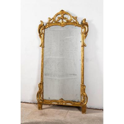 Mirror With Pare-close Golden Wood
