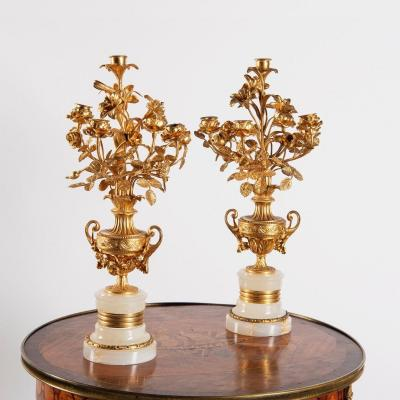 The Pair Of Candelabra Signed Moreau