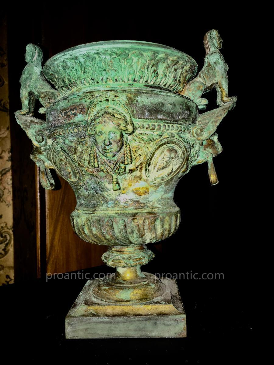 Crater Vase In Bronze 19th, Reduction Of Versailles