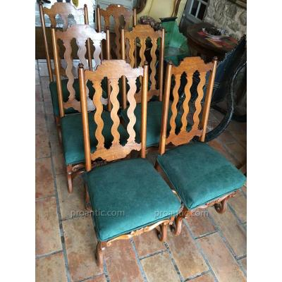 Rare Suite 6 Chairs A 17th Hauts Records